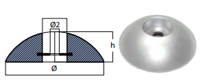 Rund zinkanode til ror Ø140mm 2,2kg-0