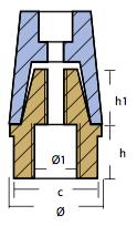 RADICE SERIE - konisk propel møtrik med messing Ø40mm-1992